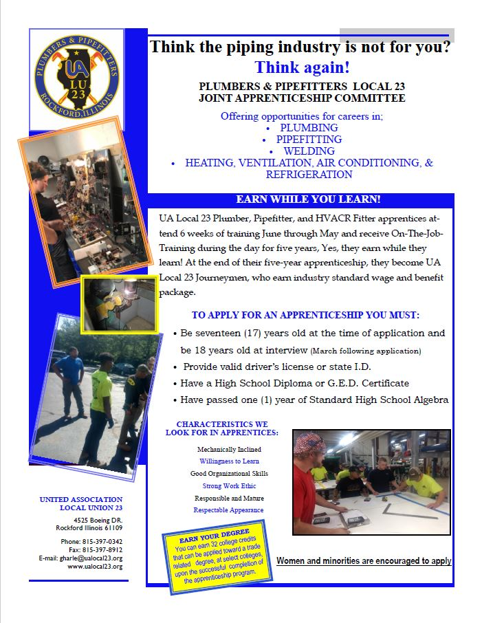 Plumbers Pipe Fitters Local 23 Apprenticeship Opportunities